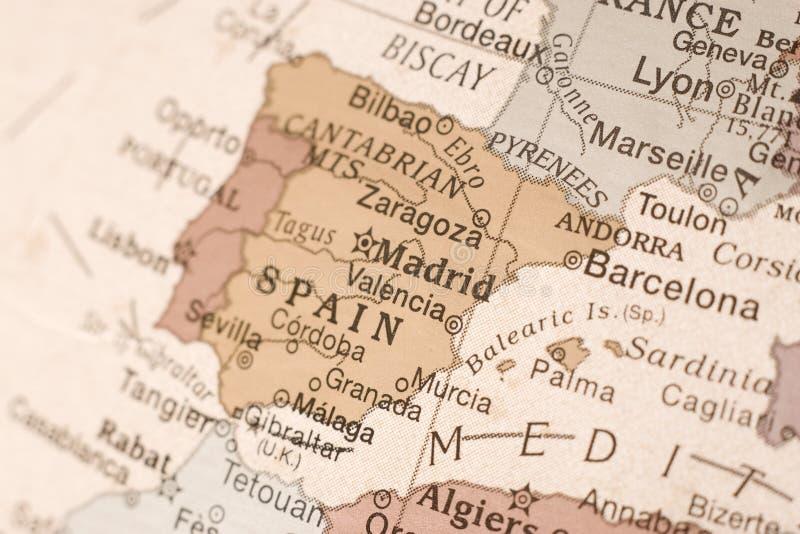 l'Espagne sur un globe photographie stock libre de droits