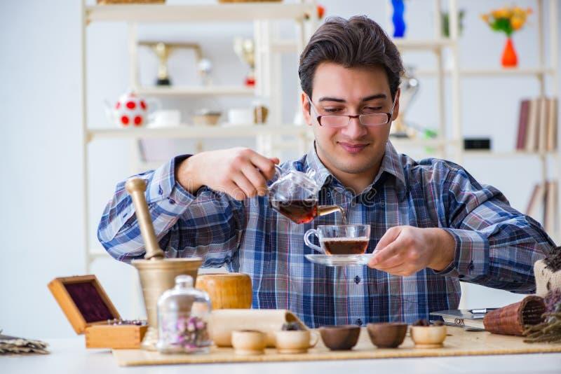 L'esperto professionale nel tè che prova le nuove miscele fotografia stock libera da diritti