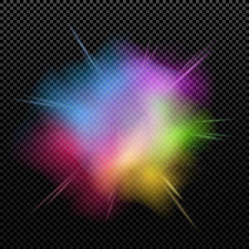 L'esplosione dei colori è isolata su un fondo trasparente Multicolore schizzi Holi felice Festa dei colori Polvere variopinta VE illustrazione di stock