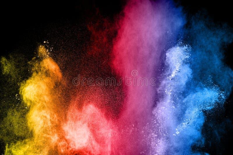 L'esplosione di multi polvere colorata Bella mosca della polvere di colore dell'arcobaleno via immagini stock