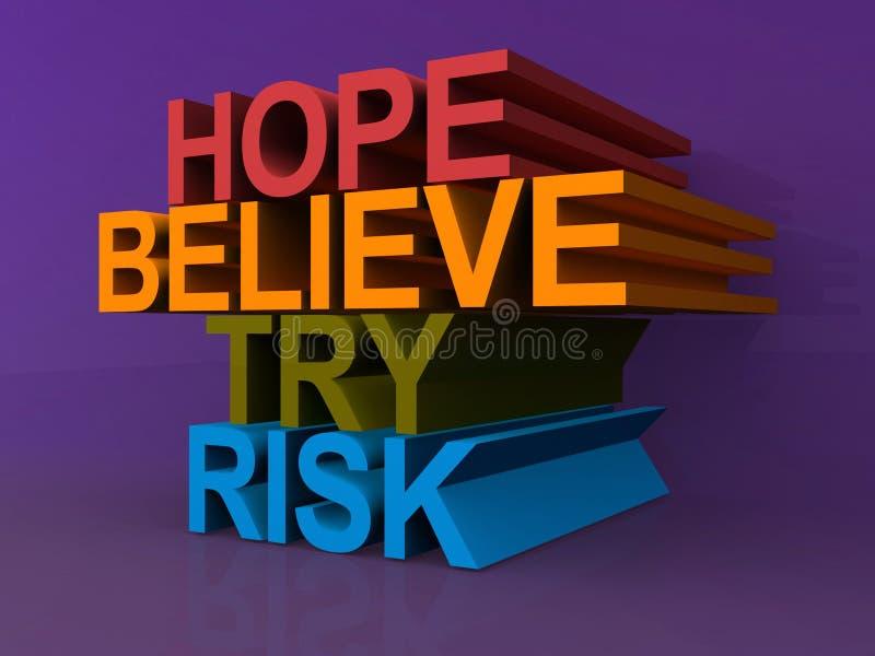 L'espoir, croient, essayent, risquent illustration libre de droits