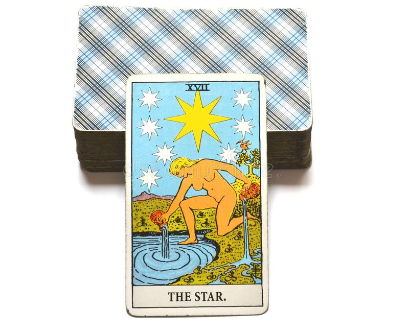 L'espoir de carte de tarot d'étoile, bonheur, occasions, optimisme, renouvellement, spiritualité illustration stock