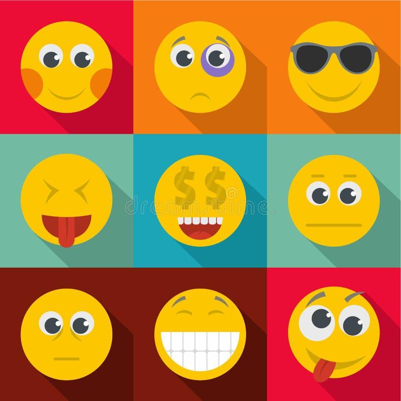 L'espressione delle icone di emozione ha messo, stile piano illustrazione vettoriale