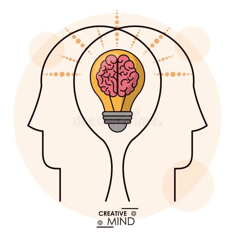 L'esprit de créativité dirige l'équipe efficace de mémoire d'ampoule de cerveau illustration de vecteur