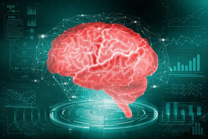 L'esprit humain L'étude des possibilités du cerveau dans le développement de l'intelligence artificielle Analyse et reconstru illustration stock