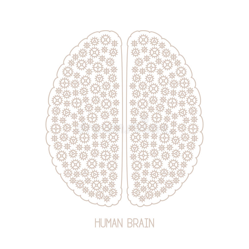 L'esprit humain et la créativité dirigent le concept dans la ligne style mince mono illustration stock
