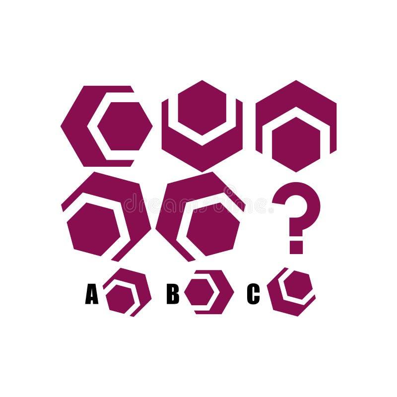 L'essai de QI choisissent la réponse correcte Tâche logique, jeu éducatif pour des enfants développement de la logique, Q.I. Jeu  illustration stock