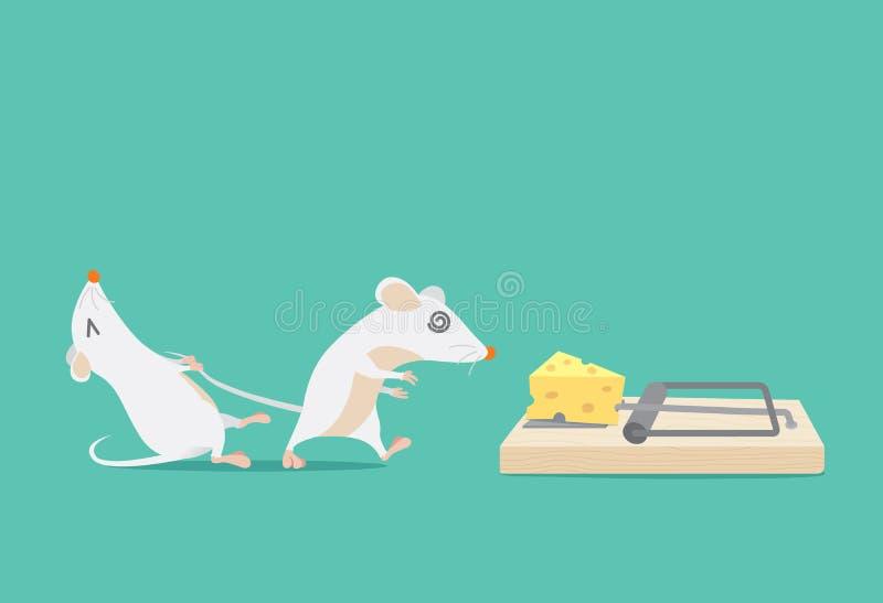 L'essai de rat pour arrêter l'ami a emprisonné parce que fromage illustration libre de droits