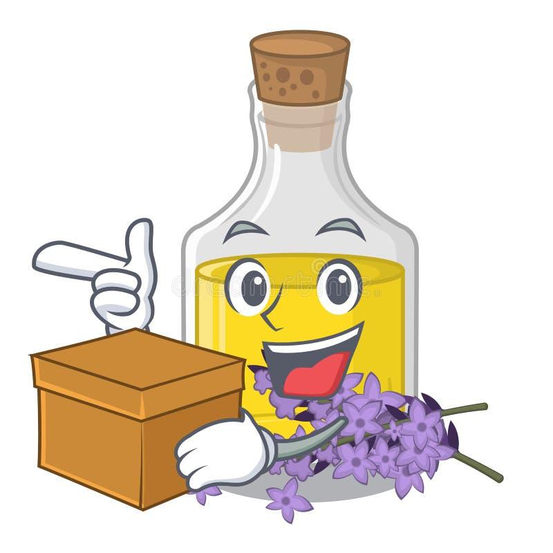 L'essence de lavande de boîte étant isolé avec la mascotte illustration stock
