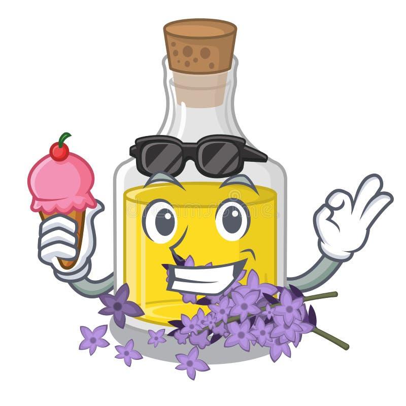 L'essence de lavande de crème glacée étant isolé avec la mascotte illustration de vecteur