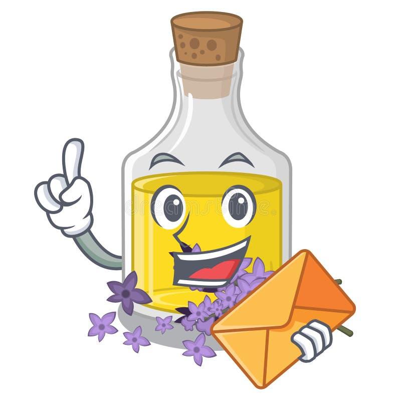 L'essence de lavande d'enveloppe étant isolé avec la mascotte illustration libre de droits
