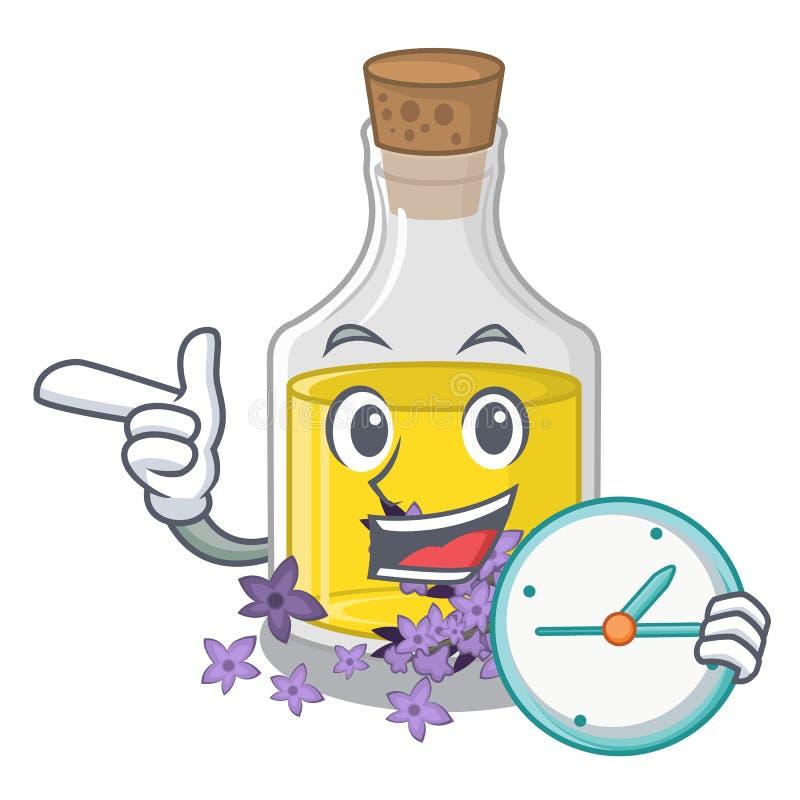 L'essence de lavande d'horloge étant isolé avec la mascotte illustration libre de droits