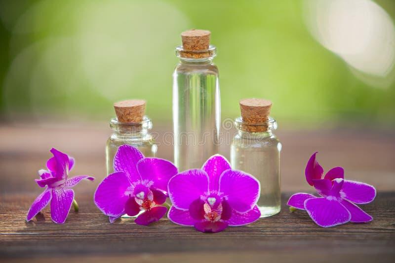 L'essence de l'orchidée fleurit sur la table dans le beau pot en verre images stock