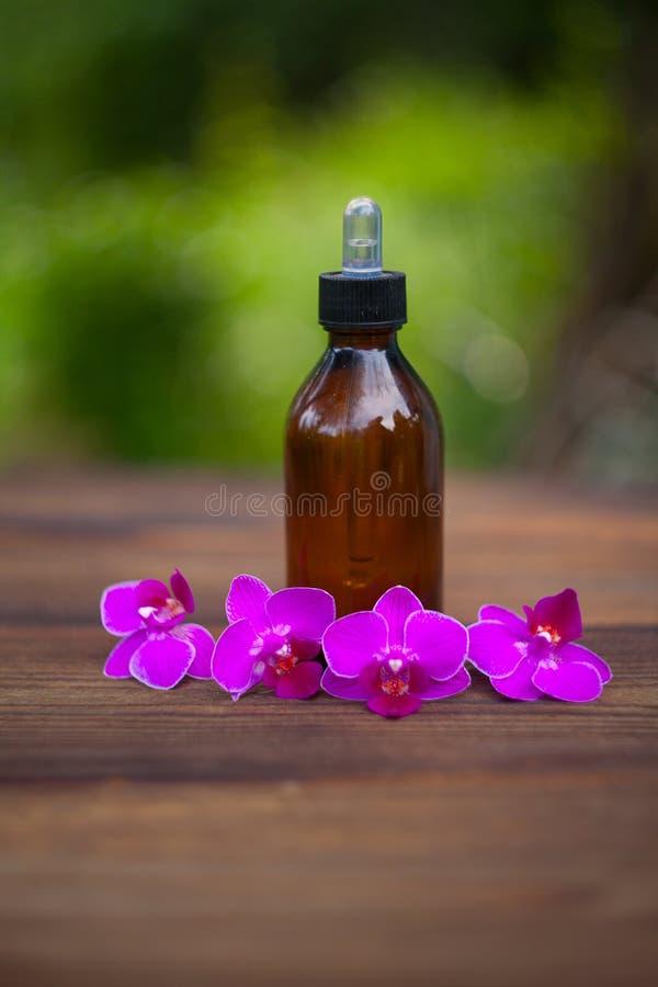 L'essence de l'orchidée fleurit sur la table dans le beau pot en verre photographie stock libre de droits
