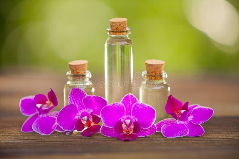 L'essence de l'orchidée fleurit sur la table dans le beau pot en verre photo libre de droits