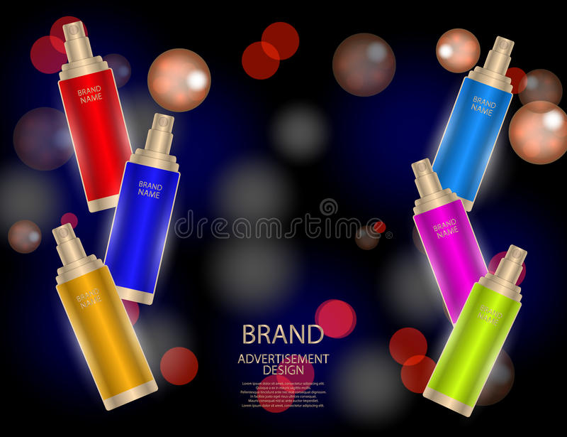 L'essence faciale fascinante de traitement a placé sur le fond de scintillement d'effets, annonces élégantes pour la conception illustration stock