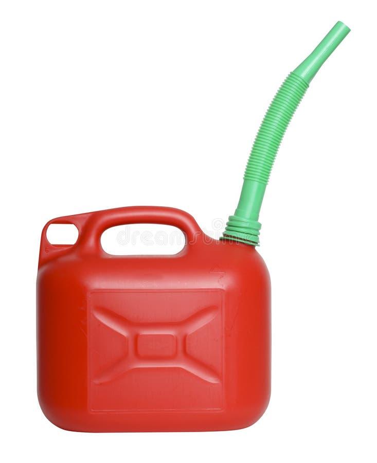L'essence peut avec l'entonnoir sur le blanc photo libre de droits