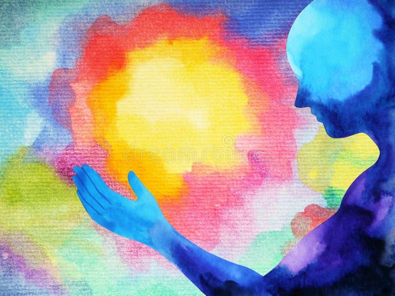 L'essere umano e l'energia potente di spirito si collegano al potere dell'universo royalty illustrazione gratis