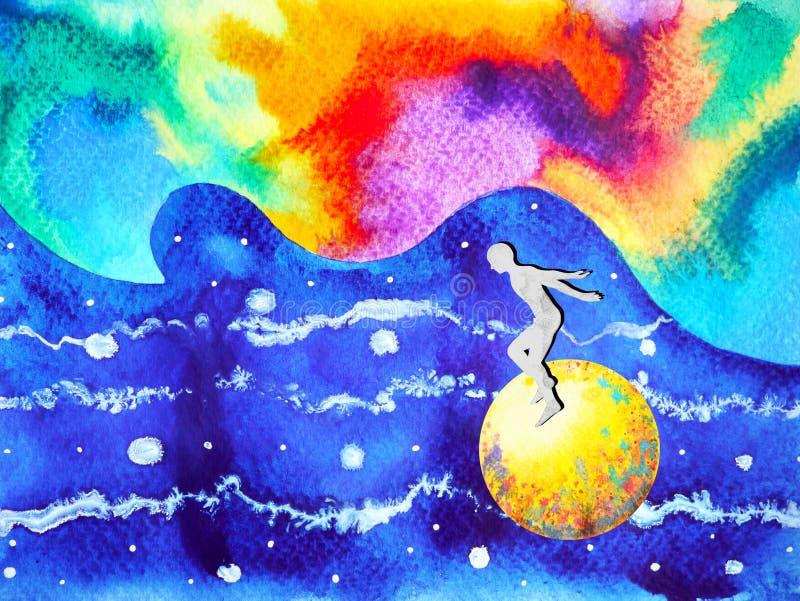 L'essere umano e l'energia potente variopinta di spirito si collegano all'universo illustrazione vettoriale