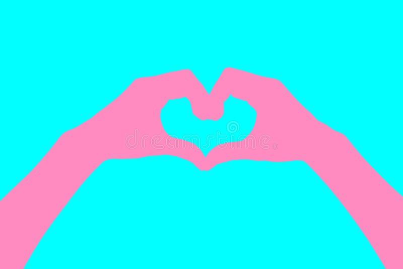 L'essere umano passa i pastelli dell'estratto di stile a forma di cuore Colore rosa Priorità bassa per una scheda dell'invito o u immagine stock libera da diritti