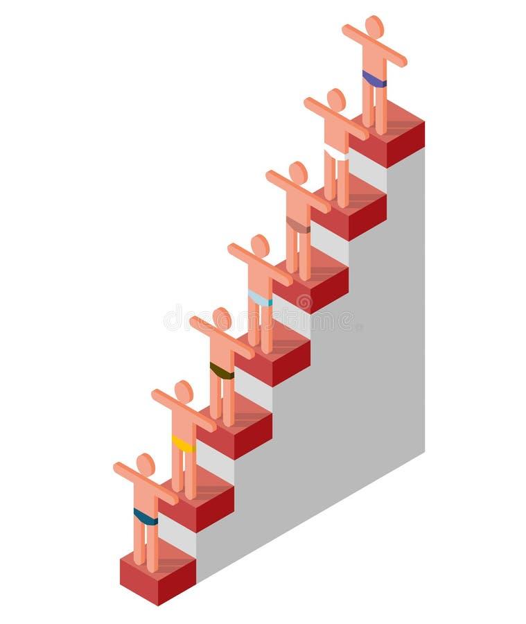 L'essere umano stilizzato dipende il podio Progresso finanziario o di personalità del grafico commerciale, successo illustrazione vettoriale