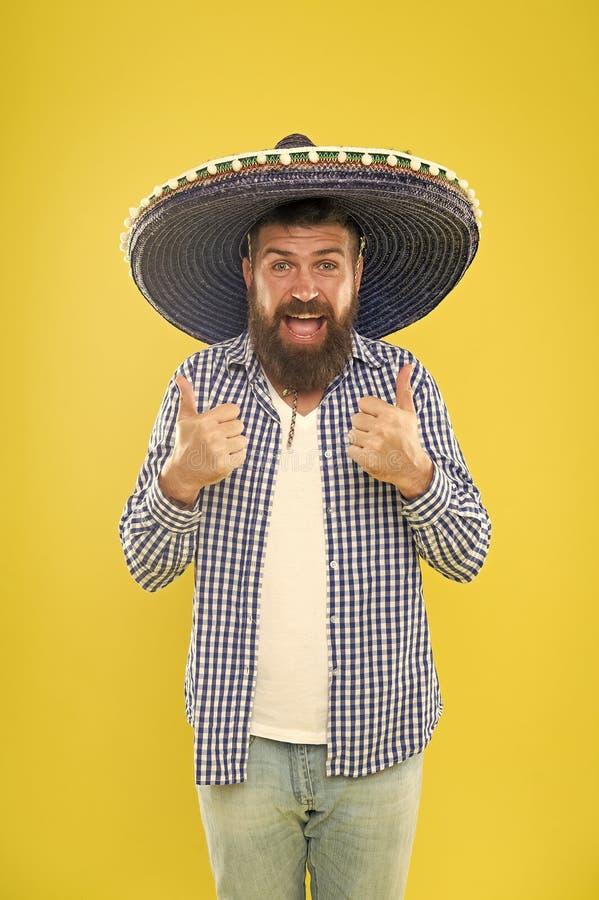 ?l est? en amor con estilo mexicano Sombrero que lleva del hombre mexicano Hombre barbudo en sombrero mexicano Inconformista en s foto de archivo libre de regalías