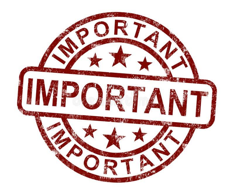 L'estampille importante affiche les informations indispensables ou des documents illustration stock