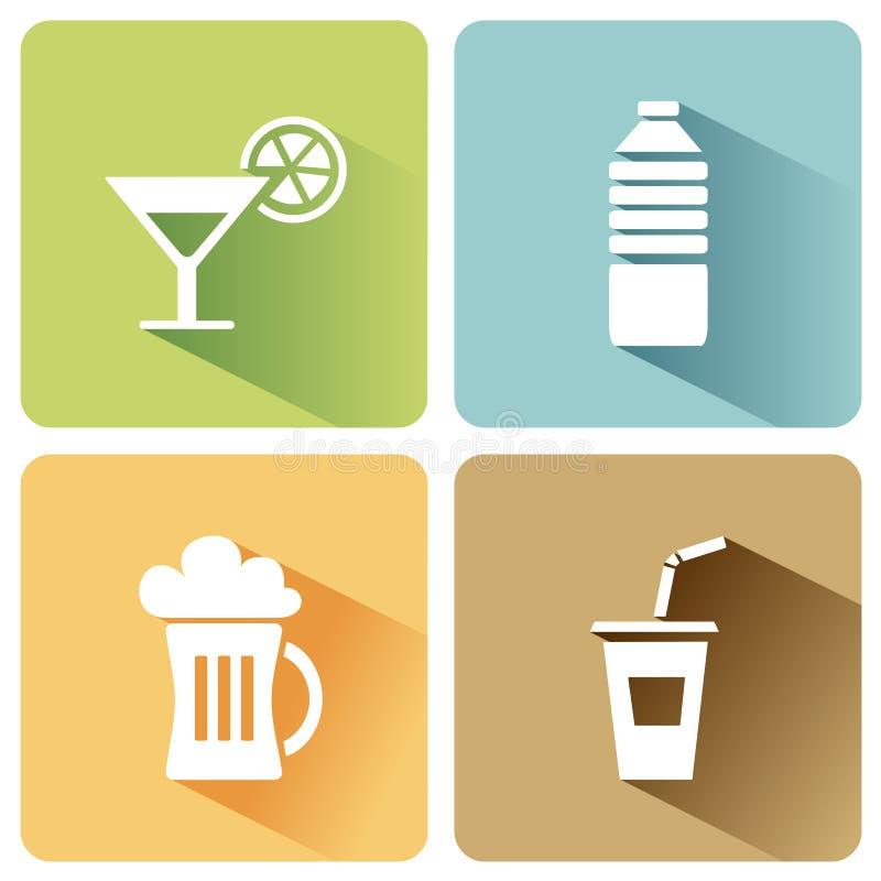 L'estate beve le icone con ombra su un fondo bianco illustrazione di stock