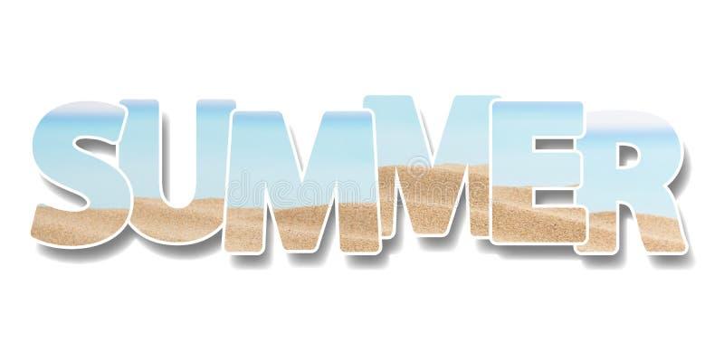 L'estate di parola Collage di alcune foto su testo Vacanza sul concetto della spiaggia royalty illustrazione gratis