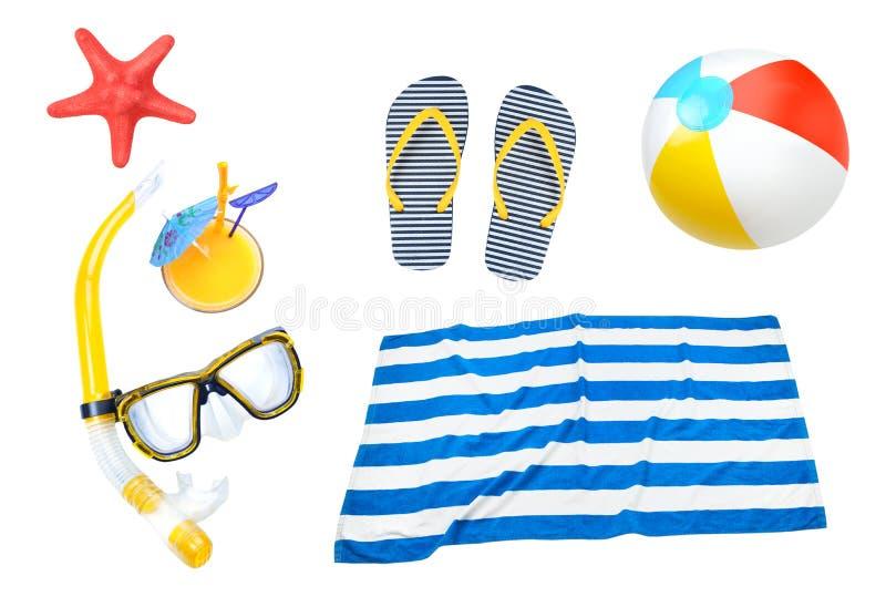 L'estate obietta il collage, elementi della spiaggia ha messo isolato fotografie stock libere da diritti