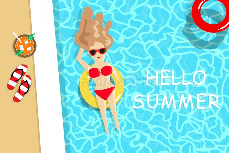 L'estate, signora che porta il bikini rosso ha un sunbath sulla piscina, vacanza stagionale di festa, si rilassa il vettore del f illustrazione di stock