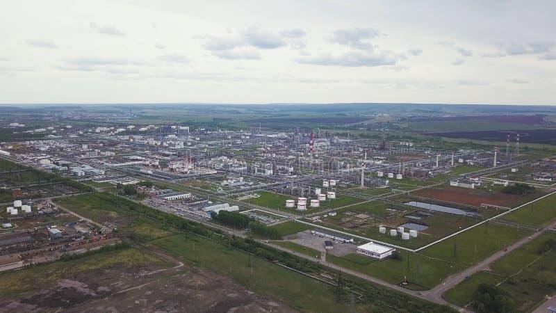 L'esterno di grande impianto di produzione o fabbrica moderno, zona industriale, esterno moderno di produzione, vista aerea immagine stock