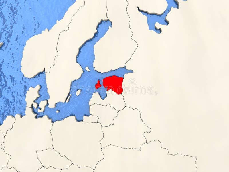 L'Estonie sur la carte illustration stock