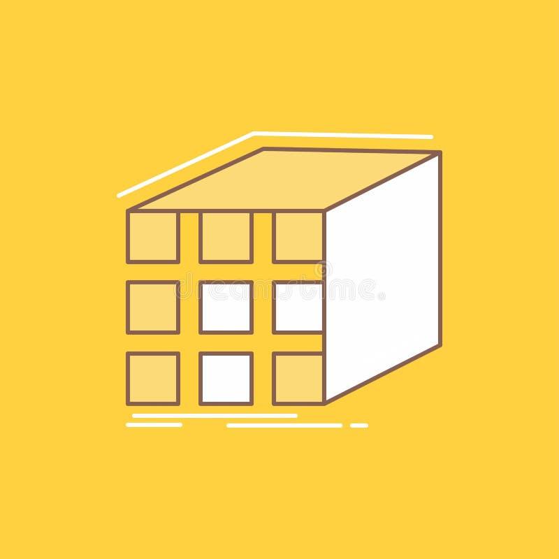 L'estratto, l'aggregazione, cubo, dimensionale, linea piana della matrice ha riempito l'icona Bello bottone di logo sopra fondo g illustrazione di stock