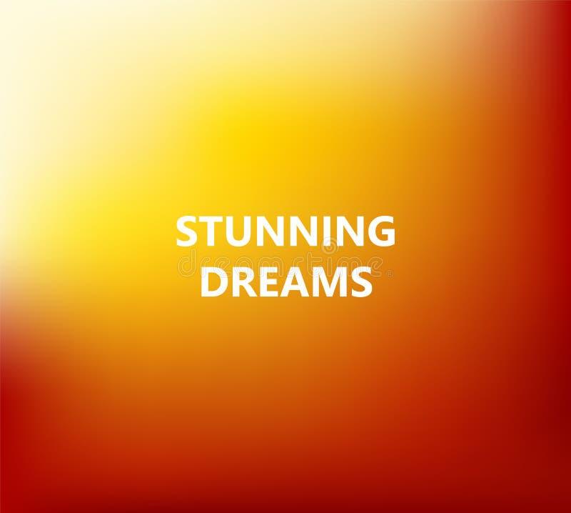 L'estratto arancio ha offuscato il fondo con i sogni sbalorditivi di frase illustrazione di stock