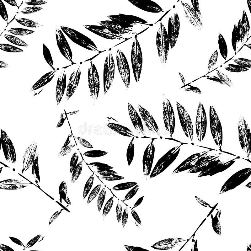 L'estratto in bianco e nero lascia a siluetta il modello senza cuciture illustrazione di stock