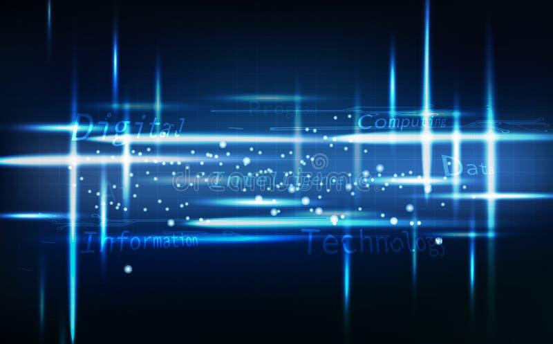 L'estratto blu della tecnologia, l'ardore al neon messaggio luminoso e digitale con le linee di griglia gira intorno all'illustra illustrazione di stock