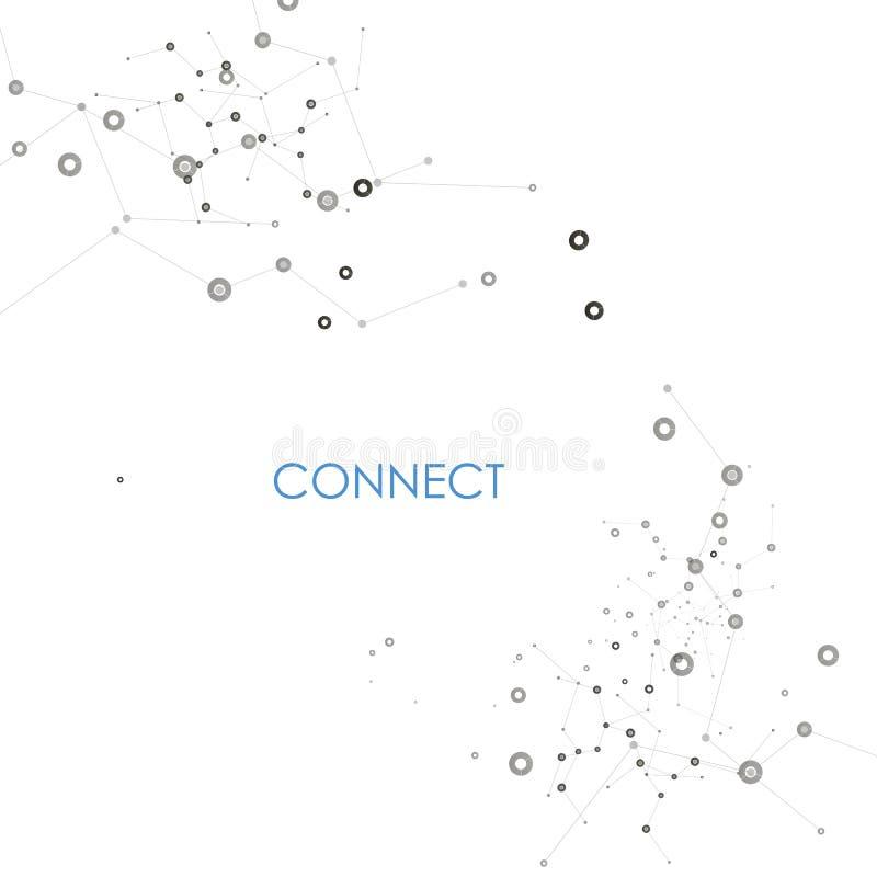 L'estratto collega il fondo con i punti e le linee struttura della molecola royalty illustrazione gratis