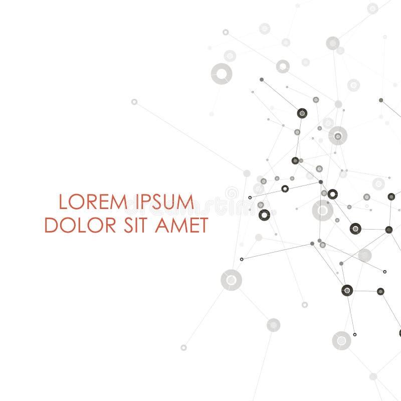 L'estratto collega il fondo con i punti e le linee struttura della molecola Fondo di scienza di vettore Rete poligonale illustrazione di stock