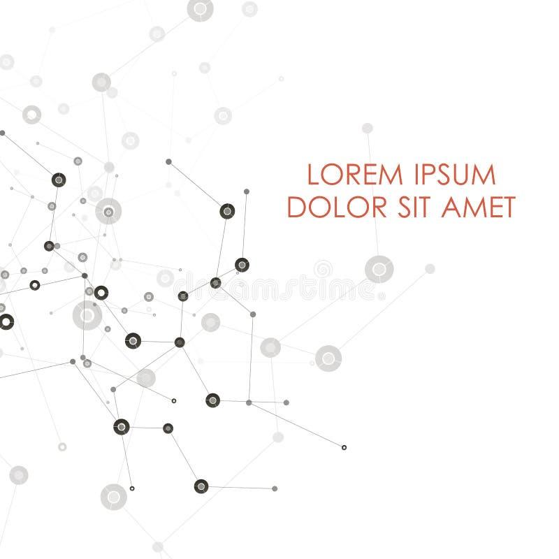 L'estratto collega il fondo con i punti e le linee struttura della molecola Fondo di scienza di vettore Rete poligonale illustrazione vettoriale