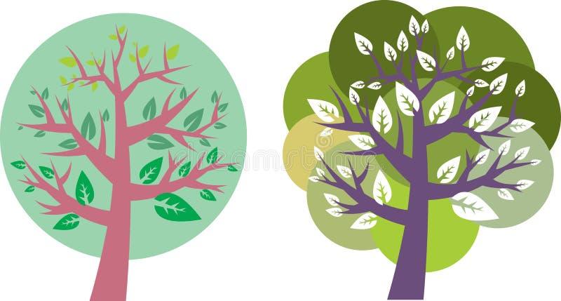 L'estratto condisce l'icona degli alberi - insieme royalty illustrazione gratis