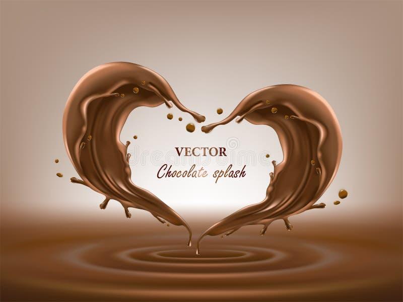 L'estratto del cioccolato spruzza l'illustrazione di vettore 3D illustrazione di stock