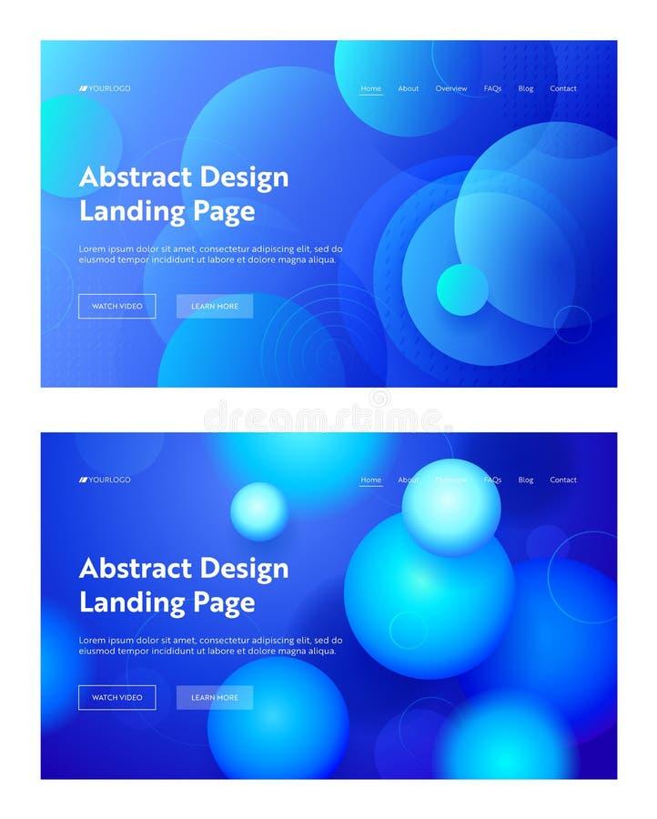 L'estratto di Blue Circle modella l'insieme del fondo della pagina di atterraggio Progettazione minima geometrica del modello di  illustrazione vettoriale