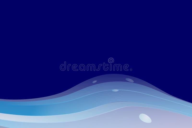 L'estratto di vettore ondeggia la carta da parati del fondo in blu illustrazione di stock