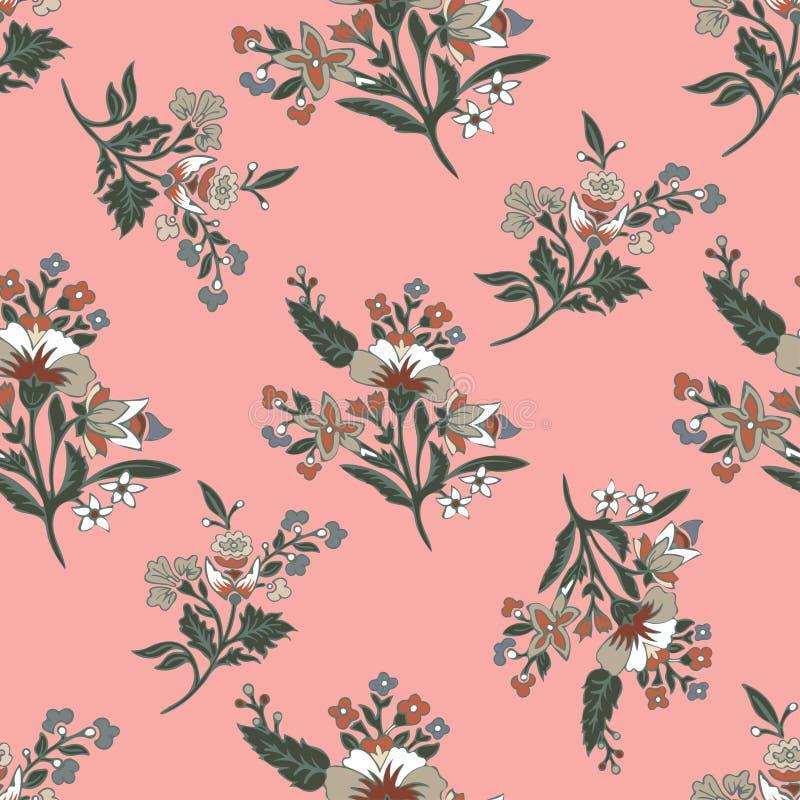L'estratto fiorisce il modello senza cuciture, fondo floreale Fantasia multicolore su un contesto rosa Per la progettazione del illustrazione vettoriale