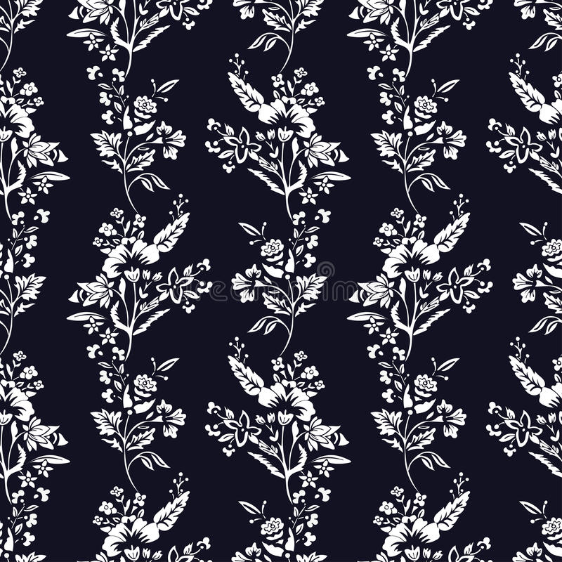 L'estratto fiorisce il modello senza cuciture, fondo monocromatico floreale di vettore Bianco di fantasia su un contesto blu scur illustrazione vettoriale