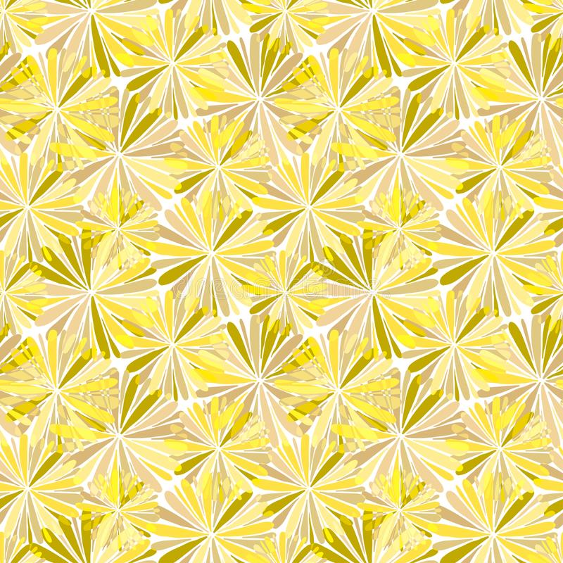 L'estratto fiorisce il modello senza cuciture nei colori di giallo dell'oro Progettazione del fondo di web o della carta da imbal illustrazione vettoriale