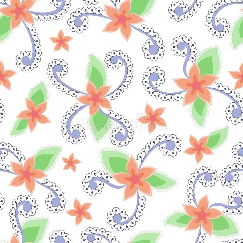 L'estratto fiorisce il reticolo senza giunte Colori d'annata illustrazione di stock