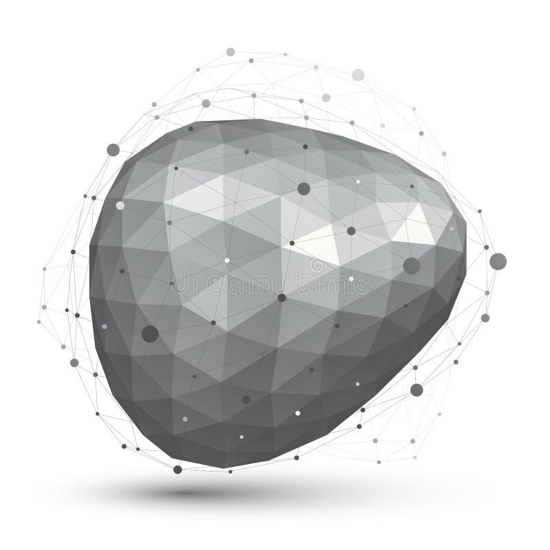 L'estratto geometrico 3D di vettore ha complicato l'oggetto della grata, singolo illustrazione di stock