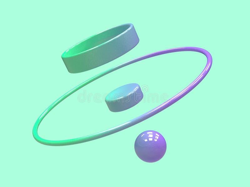 L'estratto geometrico verde porpora 3d di levitazione di forma di pendenza rende royalty illustrazione gratis
